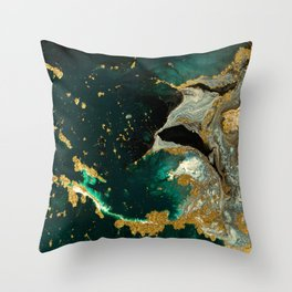 Abstract Pour Painting Liquid Marble Abstract Dark Green Painting Gold Accent Agate Stone Layers Throw Pillow