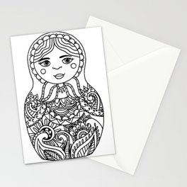 Nesting Doll - Black and White  Stationery Cards