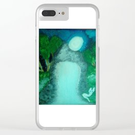WHITE CAT IN THE MOON LITE BY THE WATERFALL Clear iPhone Case