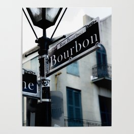 Dumaine and Bourbon - Street Sign in New Orleans French Quarter Poster