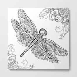 Fly with me through the wind, my dragonfly. Metal Print