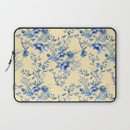 Chinoiserie Flowers Blue on Lemon Honey Creme Laptop Sleeve