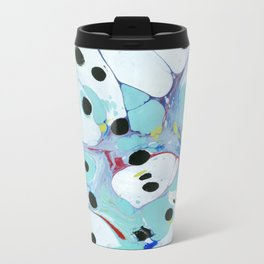 Blue Pebbles with Black Metal Travel Mug