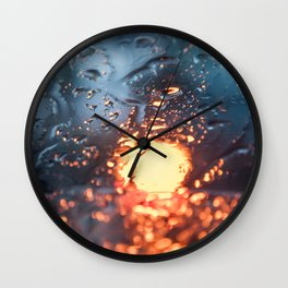 Defocus Glass with Blue and Yellow Light through Water Drops Wall Clock
