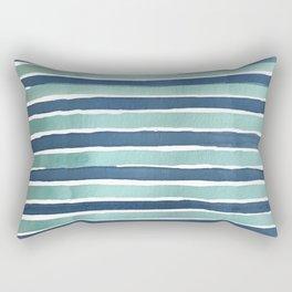 Aqua Teal Stripe Rectangular Pillow