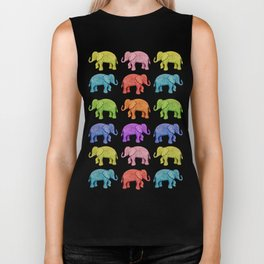 Colorful Parade of Elephants in Red, Orange, Yellow, Green, Blue, Purple and Pink Biker Tank