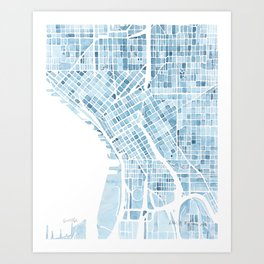Map Seattle Washington Blueprint watercolor map Art Print
