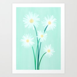 Mint Wildflower Bouquet Art Print