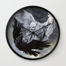 Yin Yang Owl and Raven Wall Clock