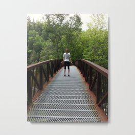 Girl on a bridge hiking Metal Print