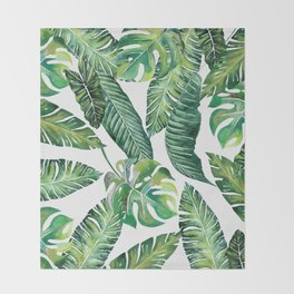 Jungle Leaves, Banana, Monstera #society6 Throw Blanket