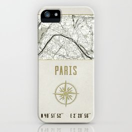 Paris - Vintage Map and Location iPhone Case