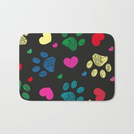 Doodle colorful paw prints with hearts seamless fabric design pattern vector black background Bath Mat