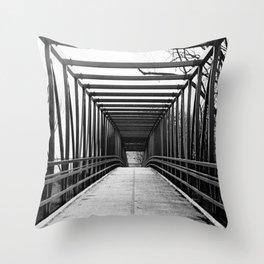 Bridge to Nowhere Black and White Photography Throw Pillow