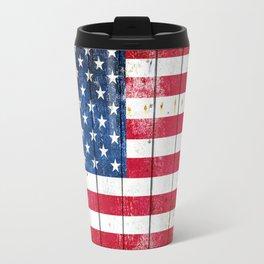 Distressed American Flag On Wood Planks - Horizontal Travel Mug