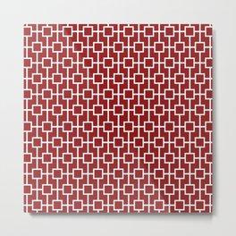 Sangria Red Lattice Pattern Metal Print