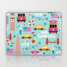 San Francisco travel - Retro style illustration pattern Laptop & iPad Skin