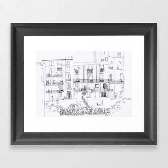 Algún lloc aprop del carrer Comtal Framed Art Print