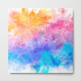 Abstract Watercolor Paint Pattern Texture #7 - Pink, Blue, Yellow Metal Print