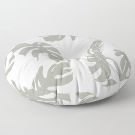 Simply Retro Gray Palm Leaves on White Floor Pillow