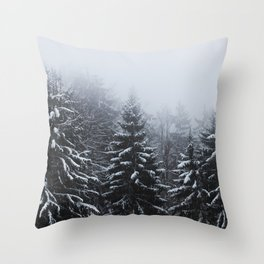 Fog over snow covered spruce forest in winter Throw Pillow