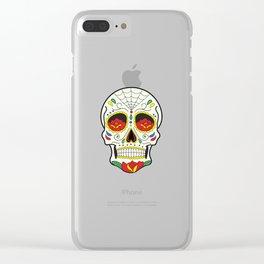 Sugar Skull Pattern Clear iPhone Case