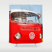 vw bus Shower Curtains featuring Red VW Bus Bold Print by Eye Shutter to Think Photography
