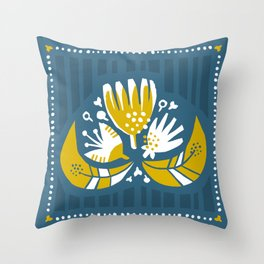 Sunny Blues - Flower Throw Pillow