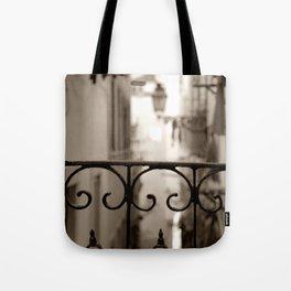 Lisbon street bokeh Tote Bag