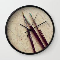 journey Wall Clocks featuring Journey by messy bed studio