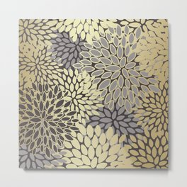 Gold Art, Floral Art Prints with Gray Metal Print