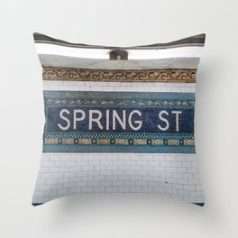 Spring Street Subway Throw Pillow