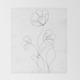 Poppies Minimal Line Art Throw Blanket