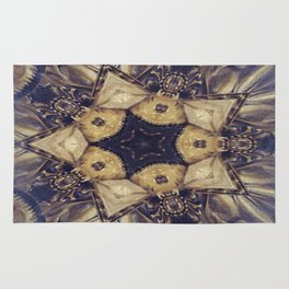 Vintage Gold Star Abstract Rug