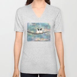 black capped chickadees and bokeh Unisex V-Neck