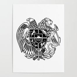 ARMENIAN COAT OF ARMS - Black Poster