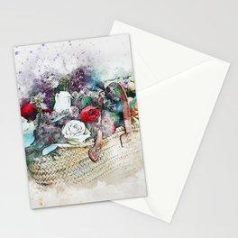 Flowers Basket Watercolor Artwork Stationery Cards