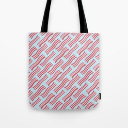 Frying Bacon Over Blue Tote Bag