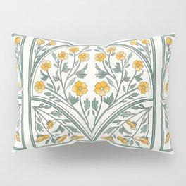 Art Nouveau Garden Repeat Pattern:  Yellow Pillow Sham