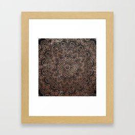 Mandala - rose gold and black marble 3 Framed Art Print