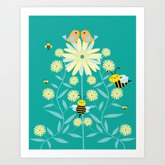 Bees, birds and flowers Art Print