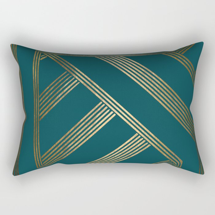 Art Deco Blurred Lines In Teal Rectangular Pillow