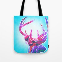antlers Tote Bags featuring Antlers by Lim Sahar