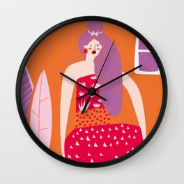 curled up in the night at home Wall Clock