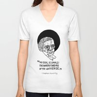 stephen king V-neck T-shirts featuring stephen hawking by Aya Rosen