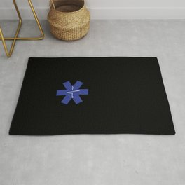 paramedic heart rate logo with heartbeat Rug