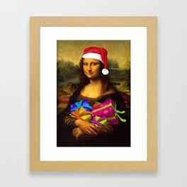 Mona Lisa Santa Claus Framed Art Print
