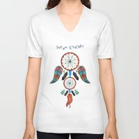 dream catcher V-neck T-shirts featuring DREAM CATCHER by Heaven7