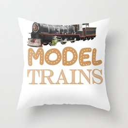 Model Train For Railroad Trains Hobby  Graphic Throw Pillow