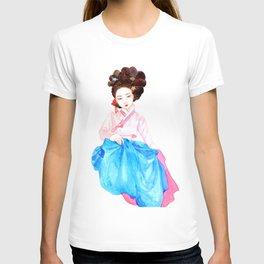Watercolor Korean beauty - Pink&Blue T-shirt